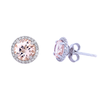 14KT White Gold Morganite and Diamond Earrings