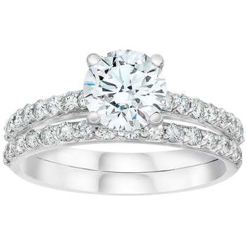Platinum Round Brilliant Cut 2.64ctw Diamond Wedding Ring Set