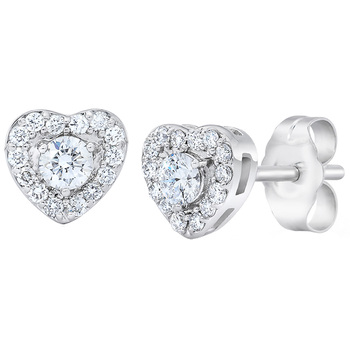 Round Brilliant Cut 0.30ctw Diamond 18KT White Gold Heart Shaped Earrings