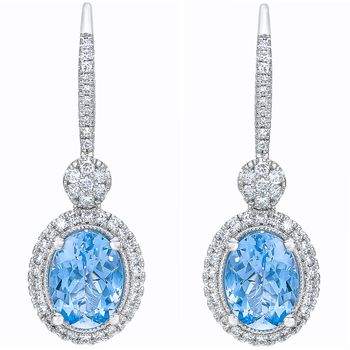 14KT White Gold Aquamarine with Diamond Earrings