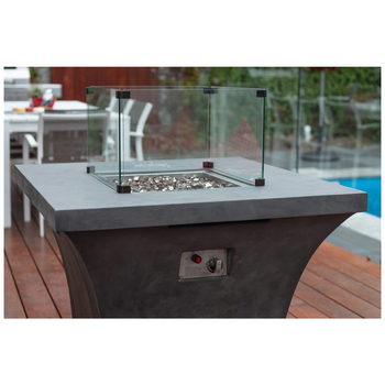 Backyard Elements Square Gas Fire Pit with Fire Glass
