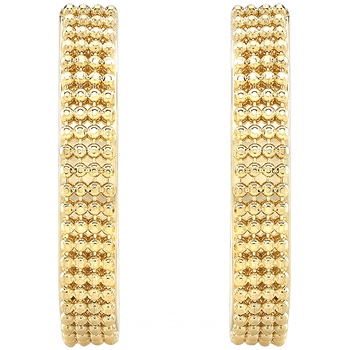 14KT Yellow Gold Beaded Oval Hoop Earrings