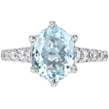 Oval Aquamarine & Round Brilliant Cut 0.48ctw Diamond 18KT White Gold Ring
