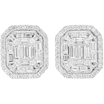 18KT White Gold 2.00ctw Round Brilliant and Baguette Diamond Earrings