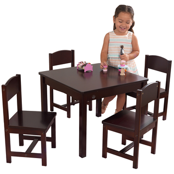 KidKraft Farmhouse Table and 4 Chair Set Espresso